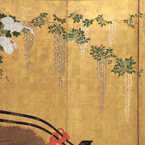 Asian Art & Antiques  - Folding screen with a cart carrying Flowers, Japan Edo period