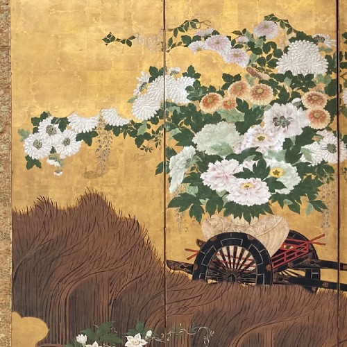Folding screen with a cart carrying Flowers, Japan Edo period -