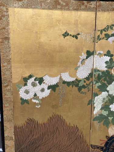 18th century - Folding screen with a cart carrying Flowers, Japan Edo period