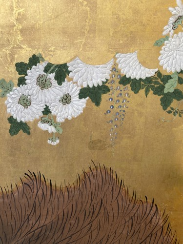 - Folding screen with a cart carrying Flowers, Japan Edo period