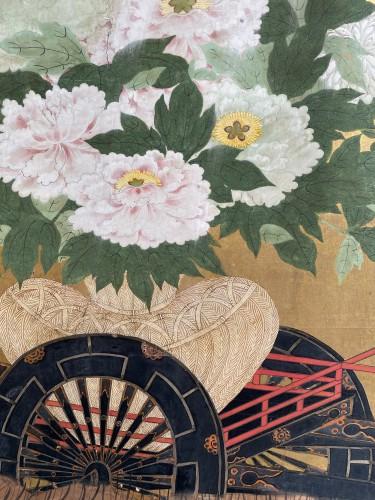 Antiquités - Folding screen with a cart carrying Flowers, Japan Edo period