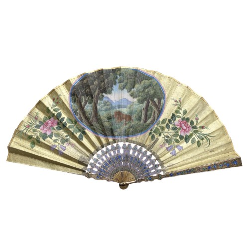 China, Filigree folding fan with  a lion, Canton, late 18th century