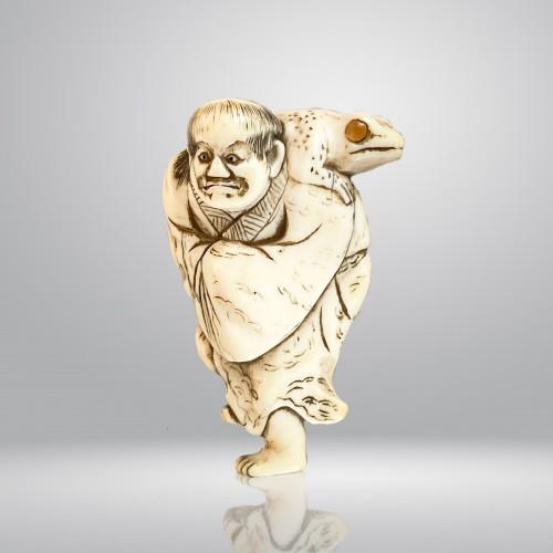 Japan, Netsuké, Gamma Sennin and his toad, Edo period - Asian Art & Antiques Style