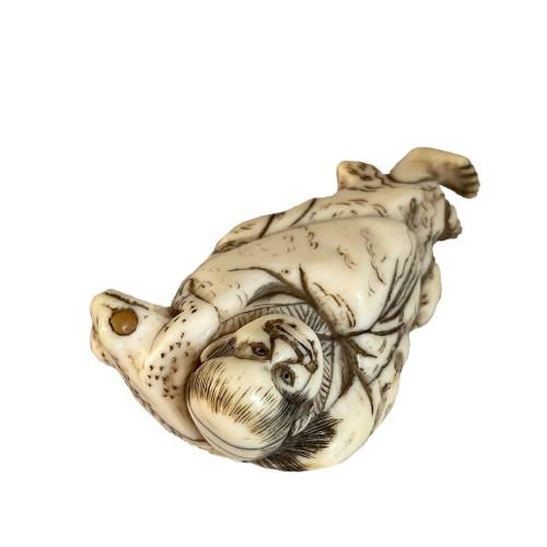 Asian Art & Antiques  - Japan, Netsuké, Gamma Sennin and his toad, Edo period