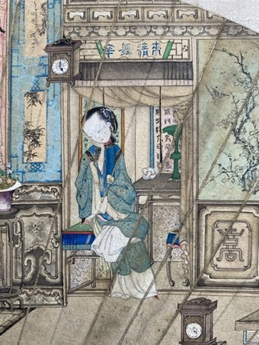 China,  fan leaf painting, Qing dynasty, 18th century - Asian Art & Antiques Style