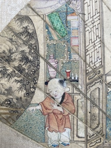 - China,  fan leaf painting, Qing dynasty, 18th century