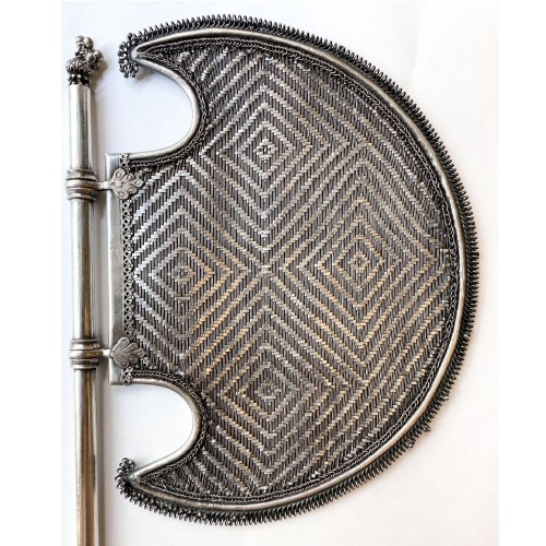Asian Art & Antiques  - India ,silver hand screen  fan Pankha, 19th century
