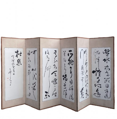 Japan, Pair of folding screens by Takabayashi Nobuyoshi  (1819-1897) -