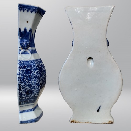 Asian Works of Art  - China, blue and white porcelain wall vase, 18th century.