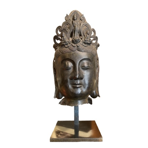 China, large bronze Bodhisattva head, 19th century