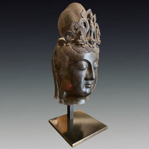 China, large bronze Bodhisattva head, 19th century - Asian Art & Antiques Style
