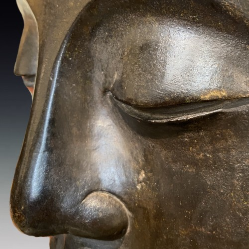 Asian Art & Antiques  - China, large bronze Bodhisattva head, 19th century