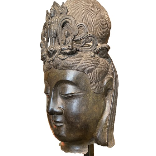 19th century - China, large bronze Bodhisattva head, 19th century