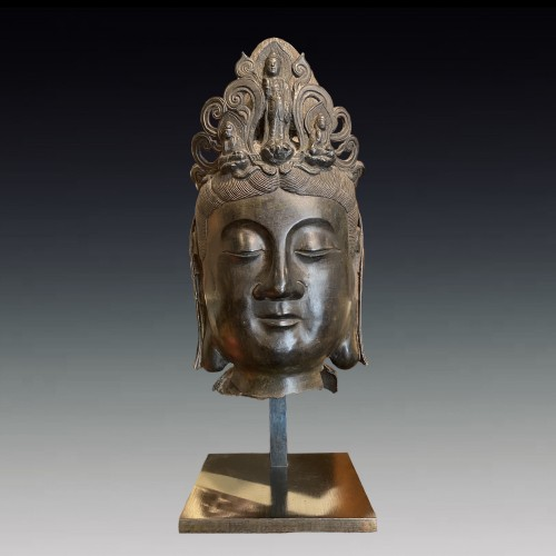 China, large bronze Bodhisattva head, 19th century -