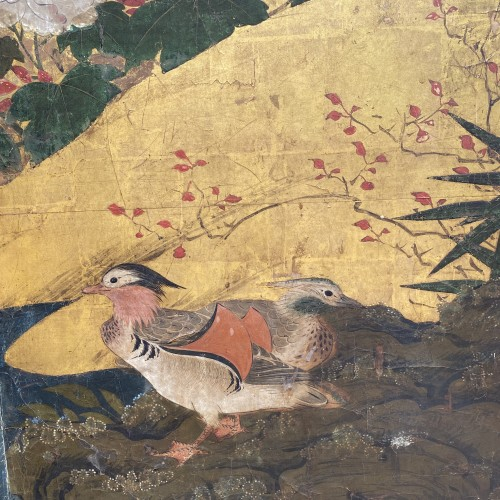 Japan, Folding screen, Kano School, Edo period, late 17th century. - Asian Works of Art Style
