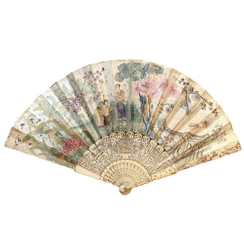 18th century - France / China Fan with a farmyard scene and chinoiserie, 18th century.