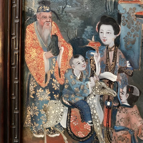 Asian Works of Art  - Reverse glass painting representing the 3 ages of life, China 19th century