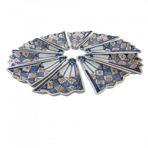 Japan, complete set of 10 Imari fan-shaped dishes, Arita, Imari, 19thc