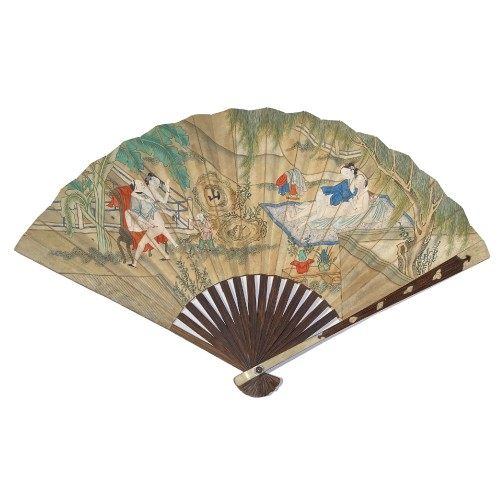 China, erotic fan, 19th century.