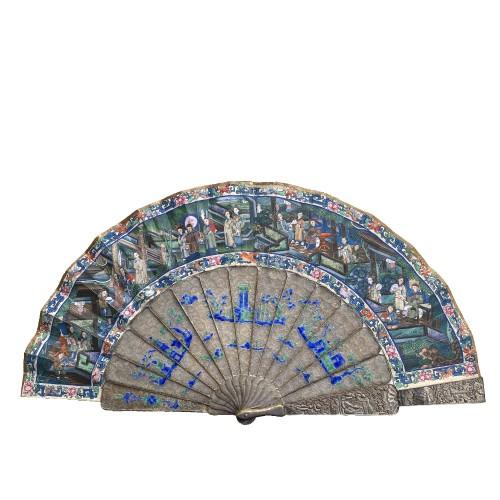 China, Filigree mandarin folding fan, Canton, Daoguang period 1821-1850