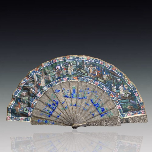 Asian Works of Art  - China, Filigree mandarin folding fan, Canton, Daoguang period 1821-1850