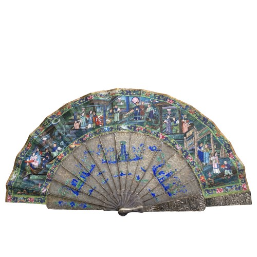 China, Filigree mandarin folding fan, Canton, Daoguang period 1821-1850 -