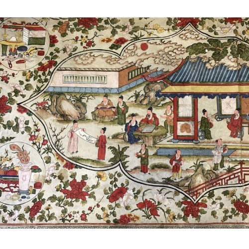 China, large panel painted on leather, Qing period, 18th century. - Asian Works of Art Style