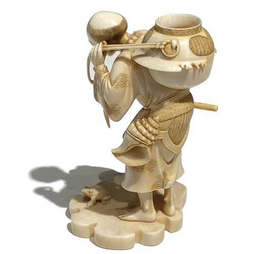 Japan, Ivory okimono of a man catching frogs, Meiji period, 19th century - Asian Works of Art Style