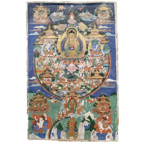 Thangka depicting Amitabha in Sukhavati, Sino Tibetan, 19th century