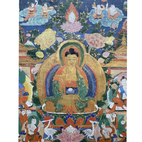 Thangka depicting Amitabha in Sukhavati, Sino Tibetan, 19th century - Asian Works of Art Style