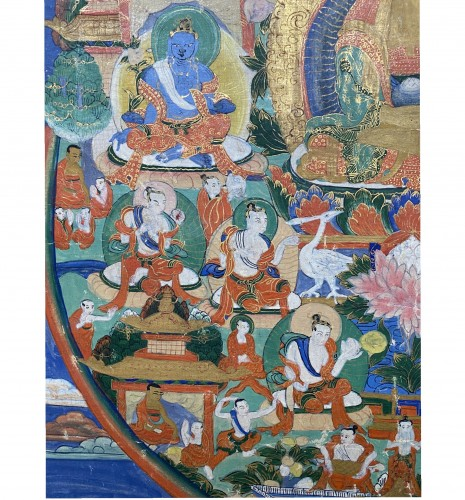 Thangka depicting Amitabha in Sukhavati, Sino Tibetan, 19th century -