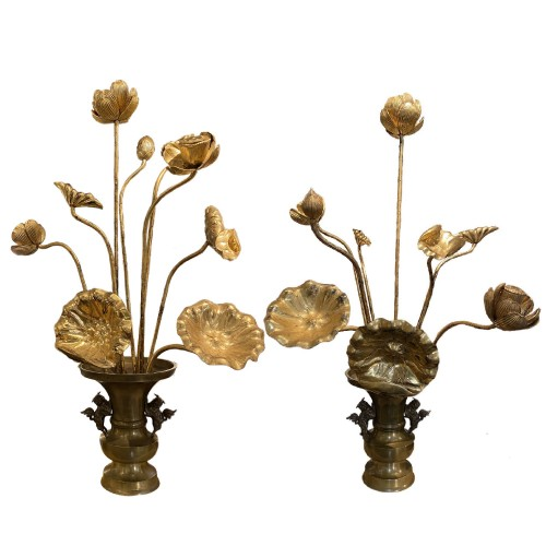 Japan,  20 wood gold lacquered lotus flowers, Meiji period