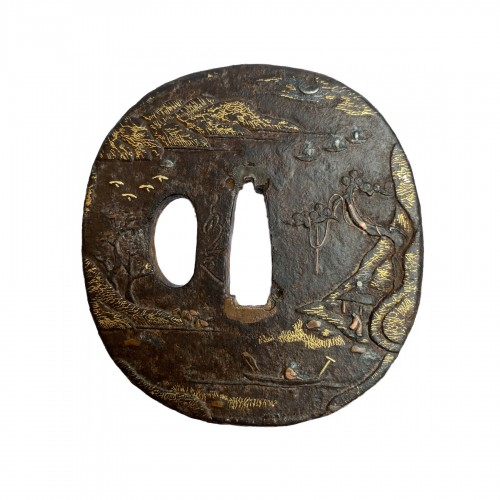 Tsuba,  signe d by Jakushi, Japan, 19th century