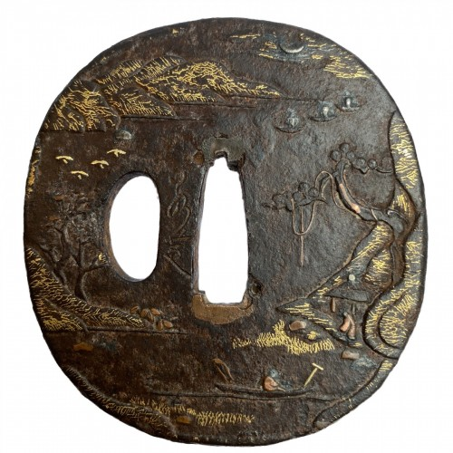 Asian Works of Art  - Tsuba,  signe d by Jakushi, Japan, 19th century