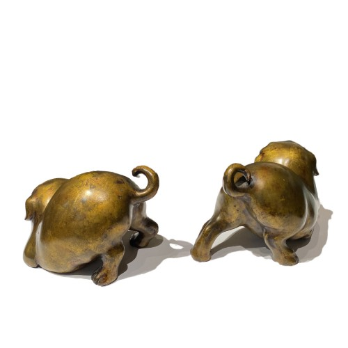 Japan, pair of bronze puppies, Meiji period - Asian Works of Art Style