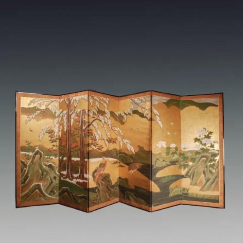 Japan, Six folds screen, Kano school, Edo period - Asian Works of Art Style