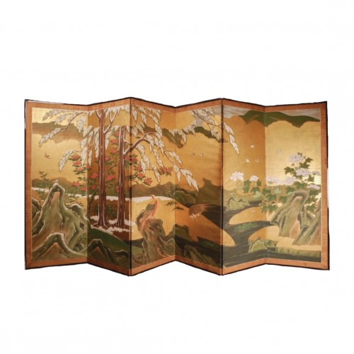 18th century - Japan, Six folds screen, Kano school, Edo period