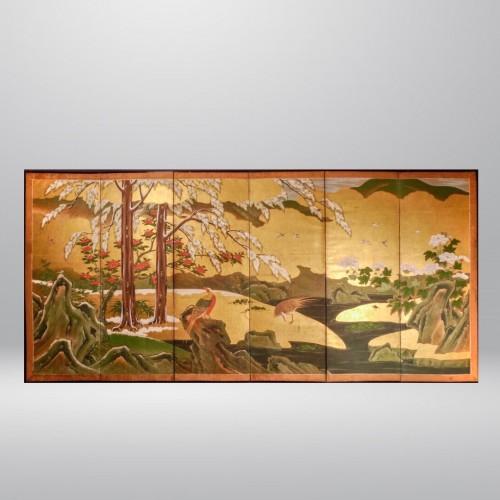- Japan, Six folds screen, Kano school, Edo period