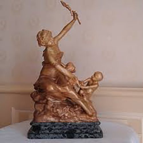 "Raoul L'arche - Bronze group ""Young woman and her child"""