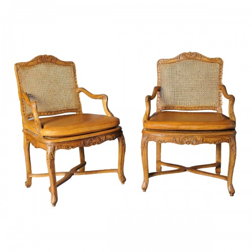 Pair of french Regence canned armchair, early 18th century