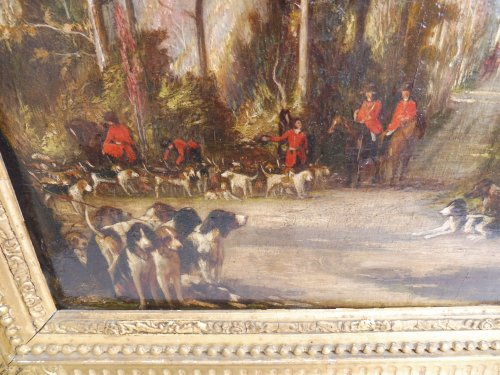JADIN Godefroy (1805-1882) - hunting with hounds scene - Paintings & Drawings Style