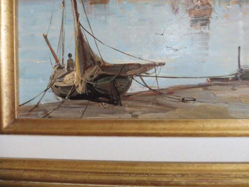 Paintings & Drawings  - Mascart Gustave said Taverny (1834-1914) - Animated Port Scene