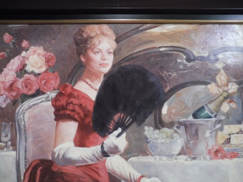 Leon Zeytline (1885 - 1962) - Elegant with red dress and fan - Paintings & Drawings Style