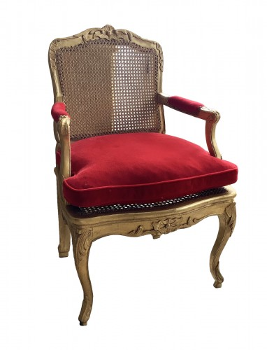 Louis XV desk armchair in gilded wood stamped BARA