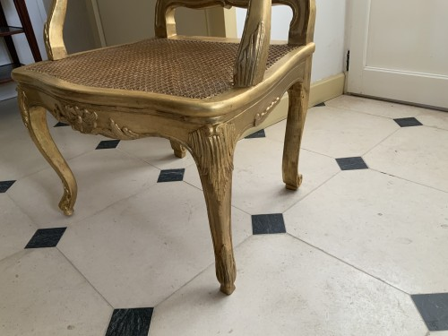 Louis XV desk armchair in gilded wood stamped BARA - Seating Style Louis XV