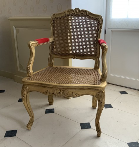 Louis XV desk armchair in gilded wood stamped BARA -