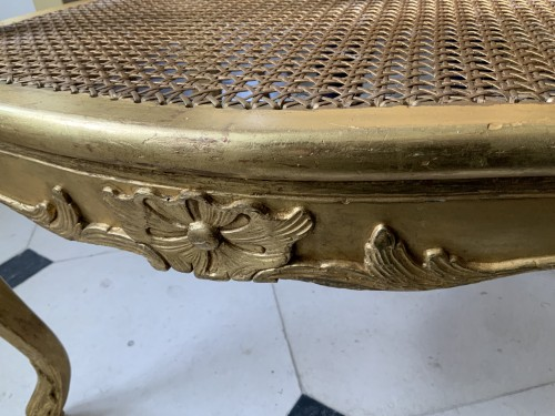 18th century - Louis XV desk armchair in gilded wood stamped BARA