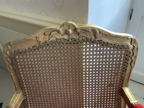 Louis XV - Louis XV desk armchair in gilded wood stamped BARA