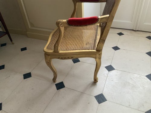 Antiquités - Louis XV desk armchair in gilded wood stamped BARA
