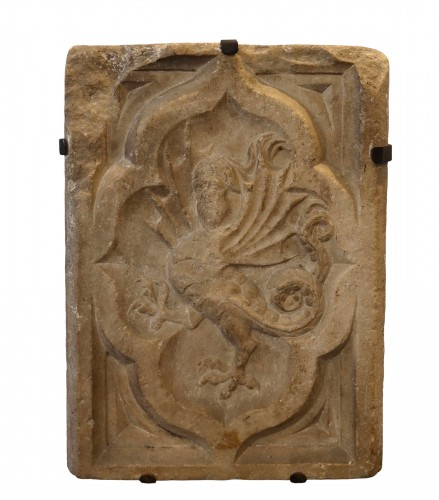 Marble relief depicting a wyvern- Lombardy, around 1380
